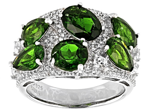 Photo of 5.20ctw Chrome Diopside With 1.61ctw Round White Zircon Rhodium Over Sterling Silver Ring - Size 7