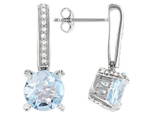 Photo of 4.30ctw Round Sky Blue Topaz With 0.20ctw White Diamond, Rhodium Over Sterling Silver Earrings