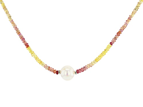 Photo of 34.00ctw Multi-Sapphire Bead Strand & 9-11mm Cultured Freshwater Pearl Rhodium Over Silver Necklace - Size 17