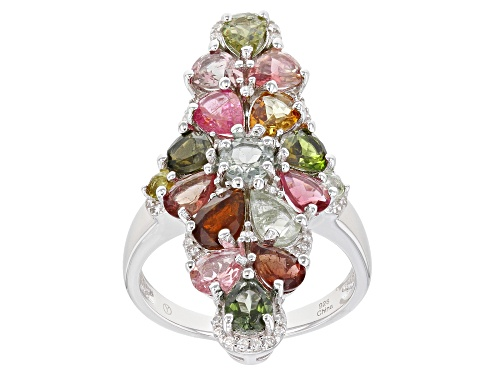Photo of 2.75ctw Multi-Tourmaline With 0.20ctw White Zircon Rhodium Over Sterling Silver Ring - Size 7