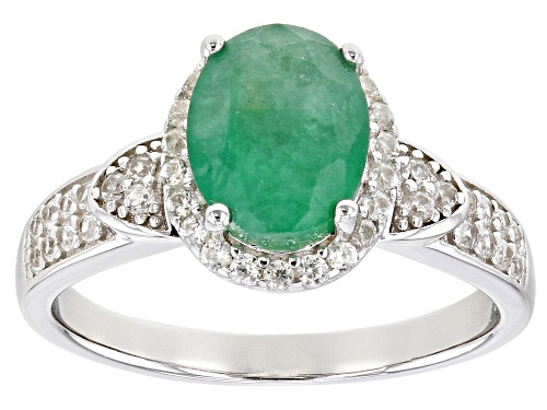 Photo of 1.50ctw Emerald With .30ctw White Zircon Rhodium Over Sterling Silver Ring - Size 10