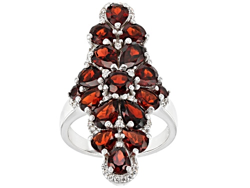 Photo of 4.00ctw Mixed Shape Garnet With 0.24ctw White Zircon Rhodium Over Sterling Silver Ring - Size 8