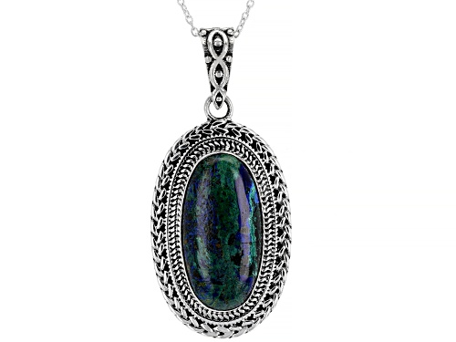 Photo of 12x24mm Oval Azurmalachite Sterling Silver Solitaire Pendant W/ Chain