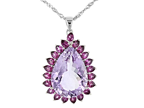 Photo of 17.00ct Pear Shape Rose de France Amethyst, 3.57ctw Rhodolite Rhodium Over Silver Pendant W/Chain