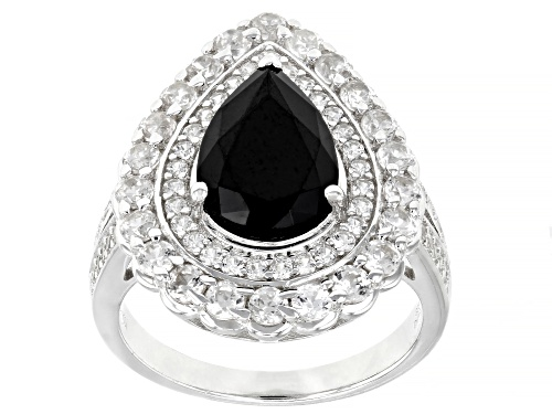Photo of 3.20ctw Pear Black Spinel With 1.85ctw Round White Zircon Rhodium Over Sterling Silver Ring - Size 7