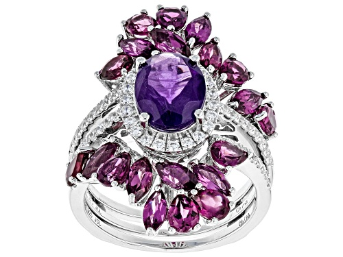 Photo of 1.45ct African Amethyst With 4.13ctw Rhodolite And White Zircon Rhodium Over Silver Ring W/ Guard - Size 7