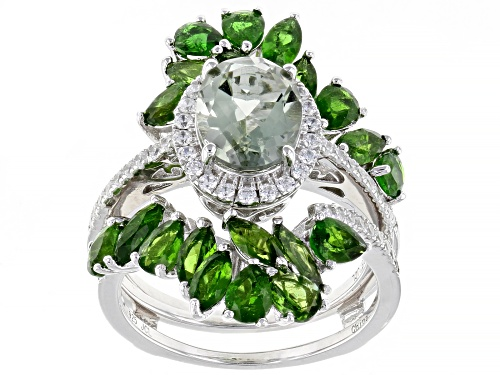 Photo of 1.45ct Prasiolite With 3.68ctw Chrome Diopside And White Zircon Rhodium Over Silver Ring W/ Guard - Size 7