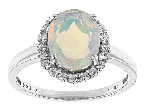Photo of 10X8mm Ethiopian Opal With 0.30ctw White Lab Created Sapphire Rhodium Over Sterling Silver Ring - Size 7