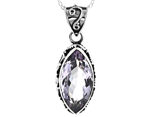 Photo of 6.00ct Marquise Amethyst Sterling Silver Solitaire Pendant With Chain