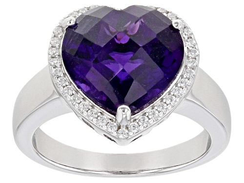 Photo of 4.50ctw Amethyst With 0.25ctw Cubic Zirconia Rhodium Over Sterling Silver Heart Ring - Size 10
