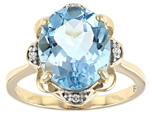 Photo of 4.96ct Oval Sky Blue Topaz and .02ctw Round White Diamond Accent 10k Yellow Gold Ring - Size 7