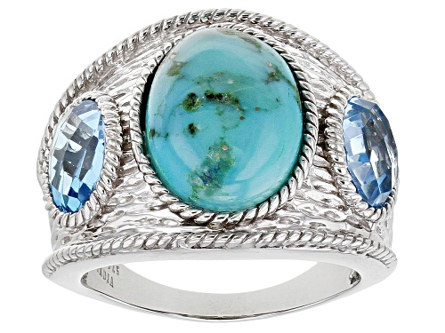 Photo of 14x10mm Oval Blue Turquoise With 2.32ctw Oval Swiss Blue Topaz Rhodium Over Sterling Silver - Size 5