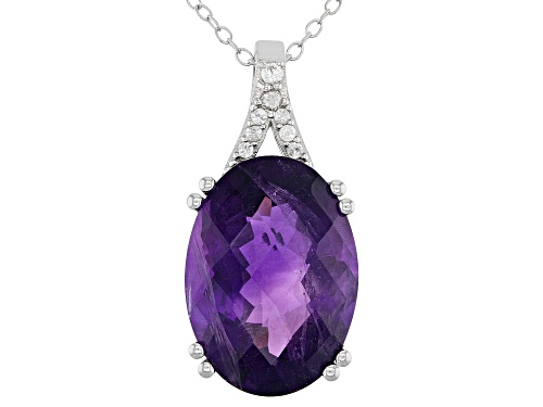 Photo of 8.00ct Oval Amethyst With .15ctw Round White Zircon Rhodium Over Sterling Silver Pendant With Chain