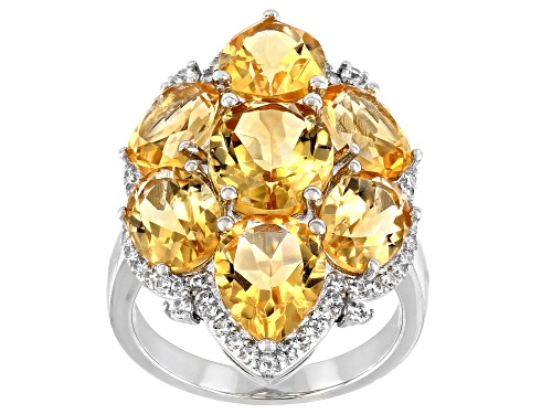 Photo of 11.50ctw Mixed Shaped Golden Citrine With 0.65ctw White Zircon Rhodium Over Sterling Silver Ring - Size 8