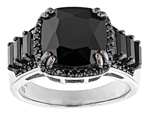 Photo of 4.82ctw Mixed Shape Black Spinel Rhodium Over Sterling Silver Ring - Size 8
