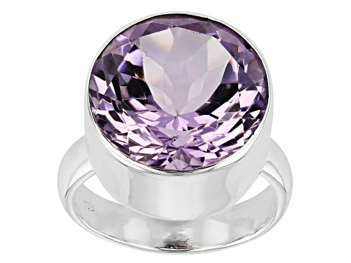 Photo of 8.00ct Round Rose de France Amethyst Rhodium Over Sterling Silver Ring - Size 7