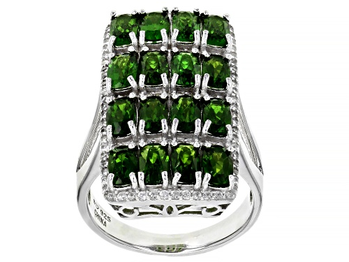 Photo of 4.64ctw Chrome Diopside With 0.88ctw White Zircon Rhodium Over Sterling Silver Ring - Size 8