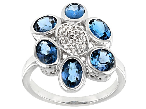 Photo of 3.30ctw London Blue Topaz And 0.30ctw White Zircon Rhodium Over Sterling Silver Flower Ring - Size 7