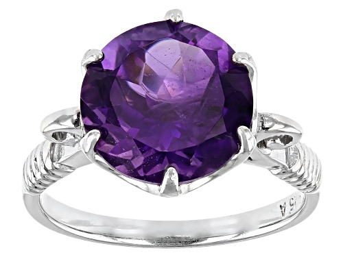 Photo of 4.15ct Round African Amethyst Rhodium Over Sterling Silver Ring - Size 8