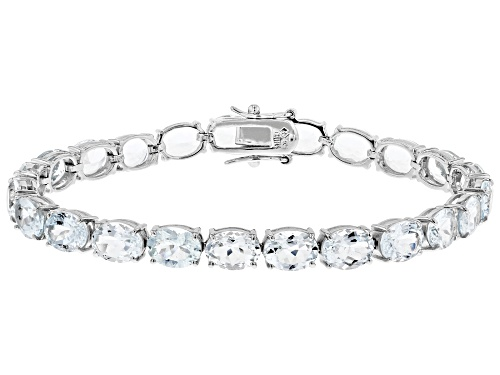 Photo of 25.00ctw 8x6mm Oval Aquamarine Rhodium Over Sterling Silver Tennis Bracelet - Size 7.5