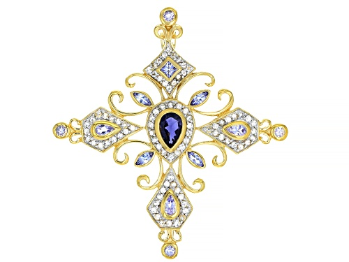 Photo of 2.94ctw Iolite, Tanzanite, And White Zircon 18k Yellow Gold Over Sterling Silver Cross Pendant