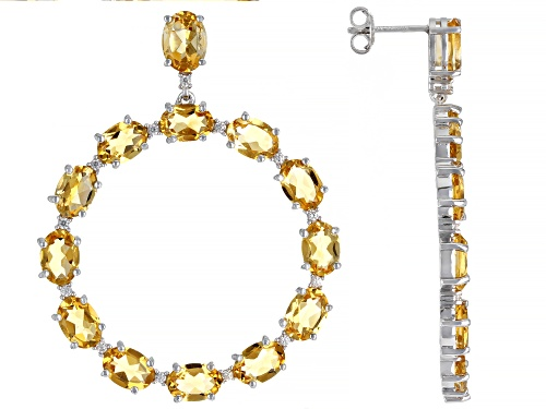 Photo of 16.00ctw Citrine And White Zircon Rhodium Over Sterling Silver Earrings