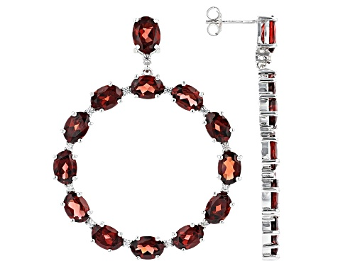 Photo of 20.00ctw Garnet And White Zircon Rhodium Over Sterling Silver Earrings