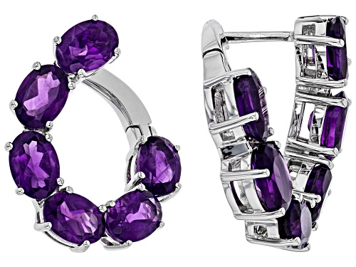 Photo of 7.00ctw Oval Amethyst Rhodium Over Sterling Silver Earrings
