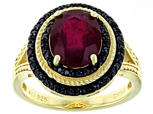 Photo of 3.50ct Oval Mahaleo Ruby With 0.40ctw Round Black Spinel 18k Yellow Gold Over Sterling Silver Ring - Size 8