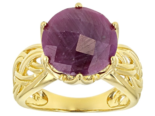Photo of 8.50ct Round Indian Ruby 18k Yellow Gold Over Sterling Silver Ring - Size 7