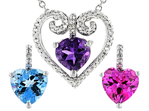 Photo of 2.62ctw Multi Gemstone Rhodium Over Sterling Silver Interchangeable Pendant W/Chain