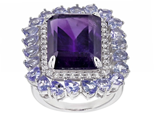 Photo of 11.50ct Amethyst With 3.10ctw Tanzanite And 0.68ctw White Zircon Rhodium Over Sterling Silver Ring - Size 7