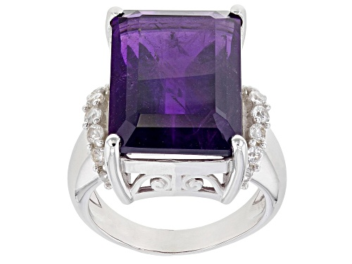 Photo of 15.00ct African Amethyst With 0.65ctw White Zircon Rhodium Over Sterling Silver Ring - Size 7