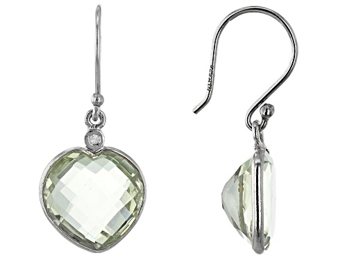 Photo of 8.7ctw 12mm Green Amethyst With 0.01ctw 1mm Diamond Rhodium Over Sterling Silver Earrings