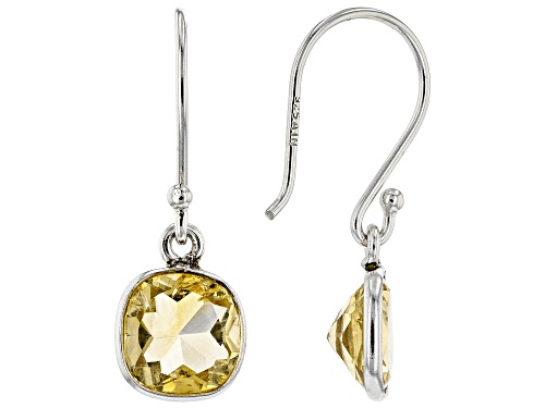 Photo of 2.75ctw 7mm Square Cushion Citrine Rhodium Over Sterling Silver Earrings