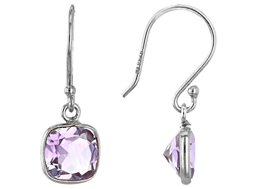 Photo of 2.75ctw 7mm Square Cushion Amethyst Rhodium Over Sterling Silver Earrings