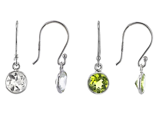 Photo of 1.60ctw 6mm Peridot With 1.50ctw White Topaz Rhodium Over Sterling Silver Earrings Set of 2
