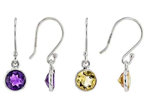 Photo of 1.70ctw 6mm Citrine & 1.50ctw Amethyst Rhodium Over Sterling Silver Earrings Set of 2
