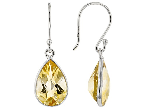 Photo of 4.70ctw 8x12mm Pear Shape Citrine Rhodium Over Sterling Silver Earrings