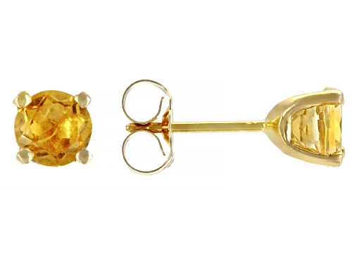 Photo of 1.05ctw 5mm Round Citrine 14k Yellow Gold Stud Earrings