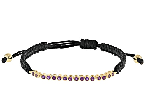 Photo of 0.48ctw Amethyst Black Cord 18k Yellow Gold Over Sterling Silver Bracelet - Size 7.25
