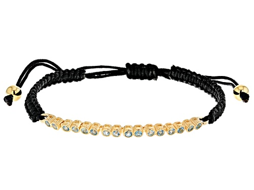 Photo of 0.72ctw Swiss Blue Topaz Black Cord 18k Yellow Gold Over Sterling Silver Bracelet - Size 7.25