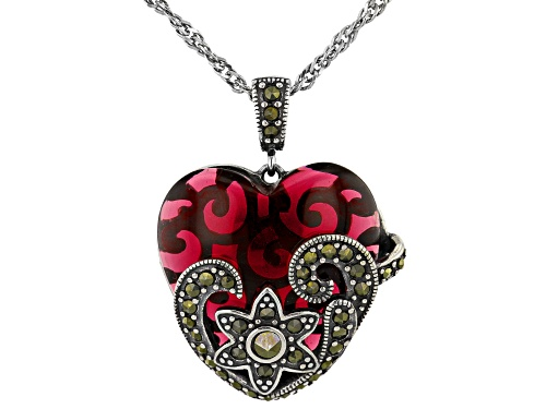Photo of Red Glass And Marcasite Sterling Silver Heart Pendant With Chain