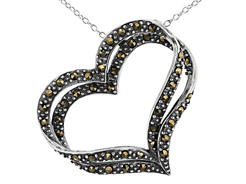 Photo of Marcasite Sterling Silver Heart Pendant With Chain