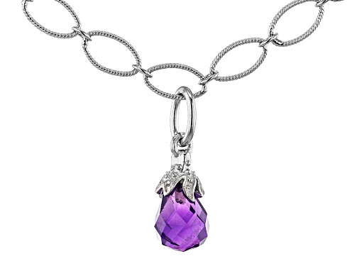 Photo of 1.65ctw 8x6mm Briolette African Amethyst Rhodium Over Sterling Silver Necklace - Size 18