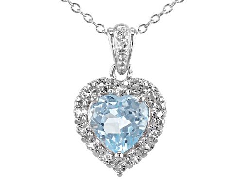 Photo of 2.20ct 8mm Blue Topaz With .55tw White Topaz  Rhodium Over Sterling Silver heart  Pendant W/Chain