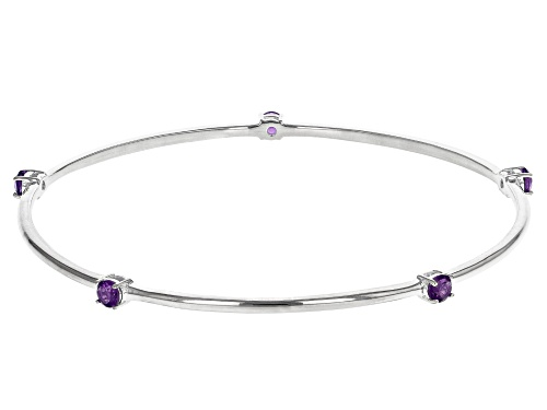 Photo of .60ctw 3.50mm Round Amethyst  Rhodium Over Sterling Silver Bracelet - Size 7.25