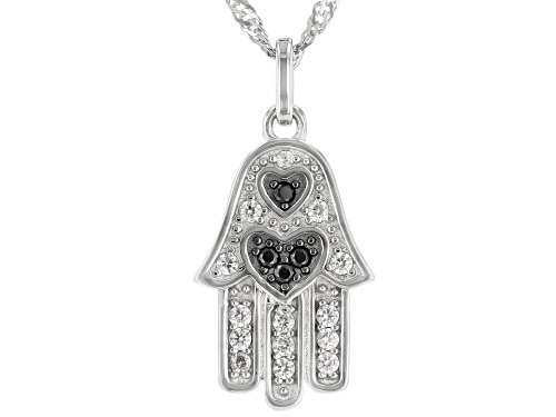 """Photo of 0.35ctw Black Spinel And White Zircon Rhodium Over Sterling Silver """"Hamsa"""" Pendant With Chain"""