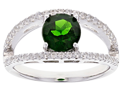 Photo of 1.21ct Round Chrome Diopside With 0.55ctw Round White Zircon Rhodium Over Sterling Silver Ring - Size 8