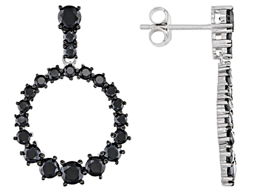 Photo of 2.12ctw Black Spinel Rhodium Over Sterling Silver Earrings